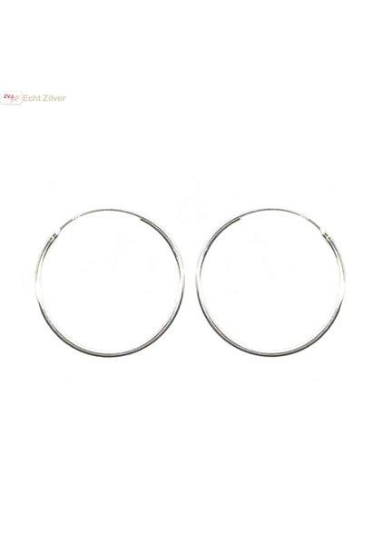Zilveren creolen oorringen groot 35  mm 1.2 mm breed