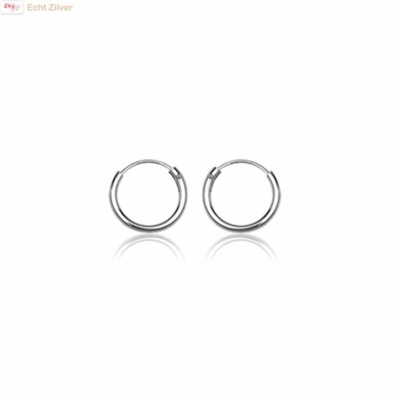 Zilveren mini creolen oorringen ronde buis 10  x 1.5 mm breed-1