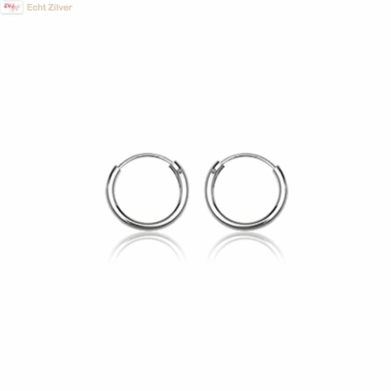 Zilveren mini creolen oorringen ronde buis 12  x 1.5 mm breed-1