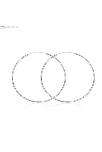 Zilveren creolen oorringen groot 55 mm 1.5 mm breed