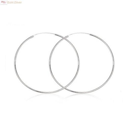 ZilverVoorJou Zilveren creolen oorringen groot 55 mm 1.5 mm breed