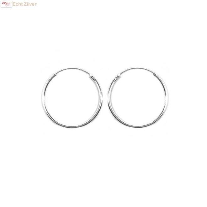 Zilveren creolen oorringen groot 25 mm 1.5 mm breed