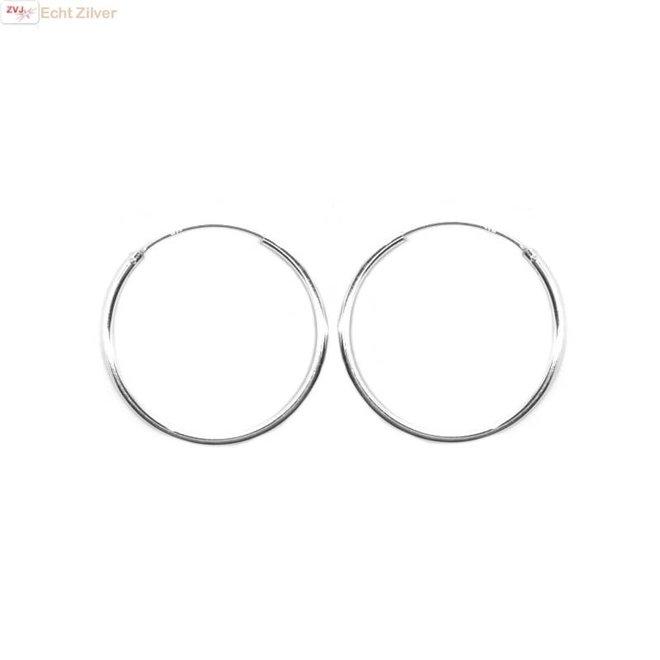 Zilveren creolen oorringen groot 30 mm 1.5 mm breed