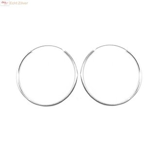ZilverVoorJou Zilveren creolen oorringen groot 35 mm 1.5 mm breed