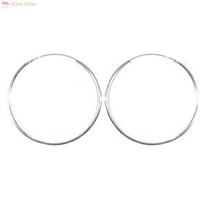 ZilverVoorJou Zilveren creolen oorringen groot 40 mm 1.5 mm breed