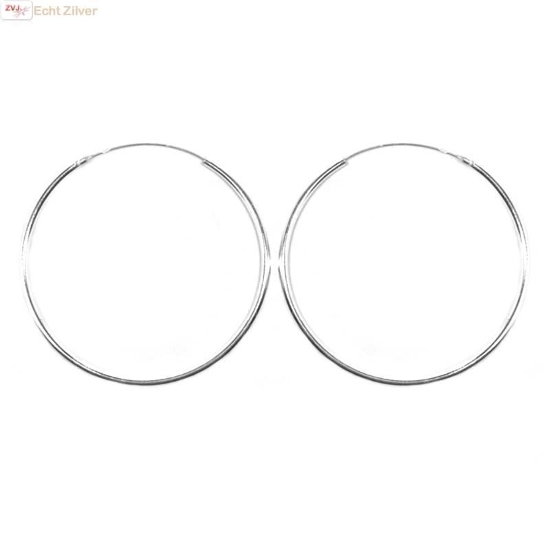 Zilveren creolen oorringen groot 40 mm 1.5 mm breed-1