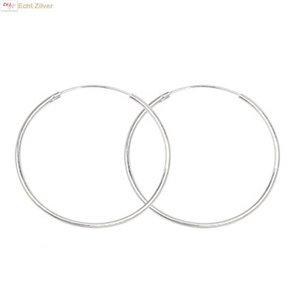 ZilverVoorJou Zilveren creolen oorringen groot 45 mm 1.5 mm breed