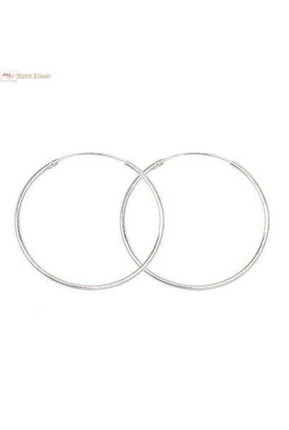 Zilveren creolen oorringen groot 45 mm 1.5 mm breed