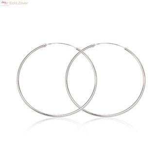 ZilverVoorJou Zilveren creolen oorringen groot 50 mm 1.5 mm breed