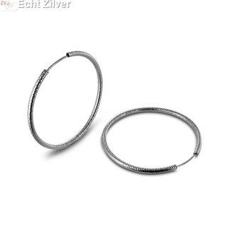 ZilverVoorJou Zilveren creolen bewerkt ronde buis 4.8 cm 2 mm breed