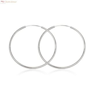 ZilverVoorJou Zilveren creolen oorringen groot 50 mm 2 mm breed