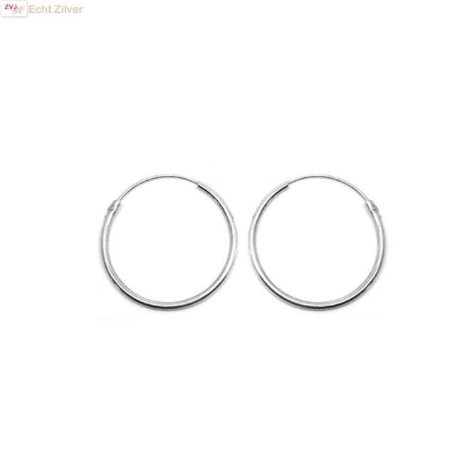 Zilveren  creolen oorringen ronde buis 25  x 2 mm breed