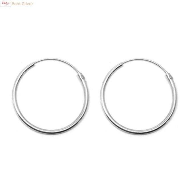 Zilveren  creolen oorringen ronde buis 35 x 2 mm breed