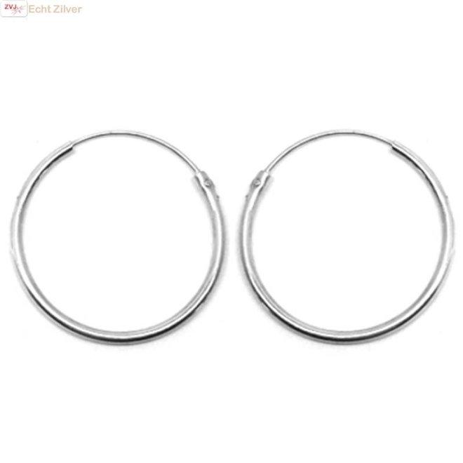 Zilveren creolen oorringen ronde buis 40 mm 2 mm breed