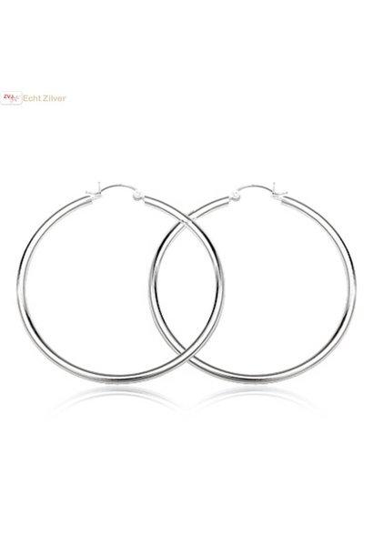 Zilveren scharnier oorringen groot 65 mm 2.5 mm breed