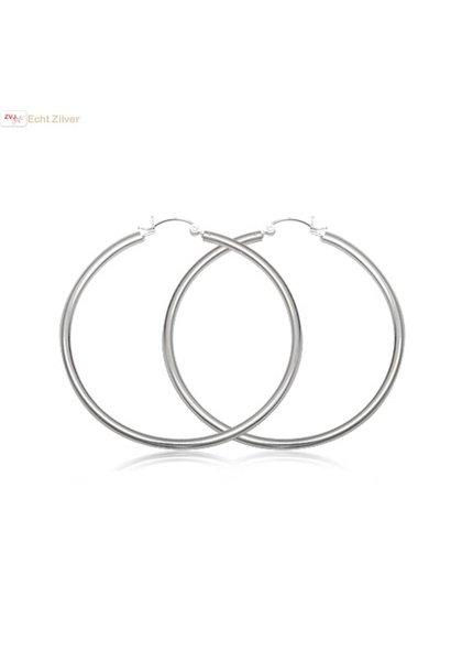 Zilveren scharnier oorringen groot 50 mm 3 mm breed