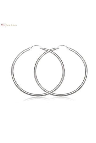 Zilveren scharnier oorringen groot 55 mm 3 mm breed