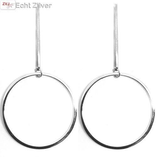 ZilverVoorJou Zilveren grote cirkel oorhangers met staaf