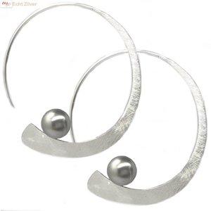 ZilverVoorJou mat Zilveren design open oorringen met parel