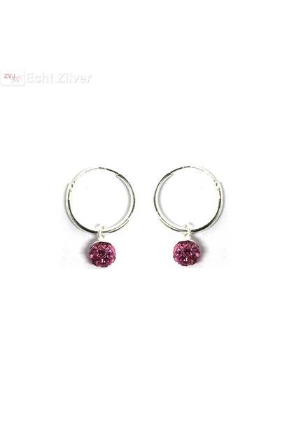 Zilveren creolen met fuchsia roze kristal bal