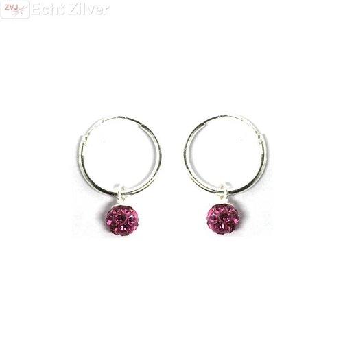 ZilverVoorJou Zilveren creolen met fuchsia roze kristal bal