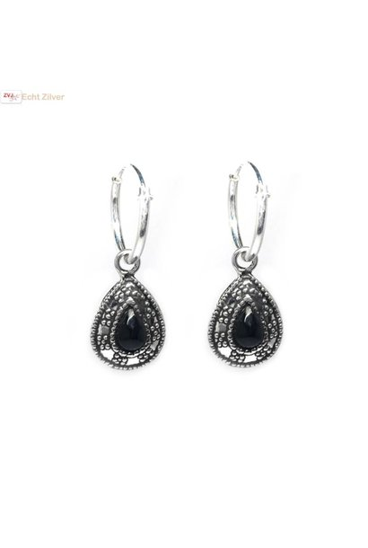 Zilveren kleine creolen oorringen zwarte steen druppel hanger