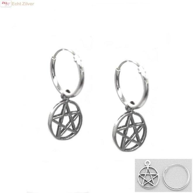 Zilveren creolen met pentagram hangertje