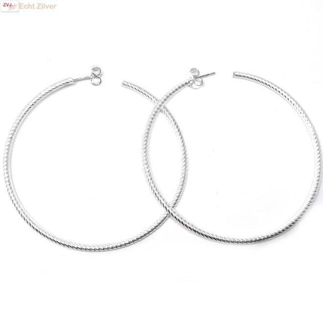 Zilveren steek creolen oorringen 60 mm