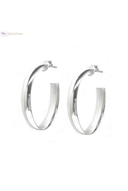 Zilveren ovale steek creolen oorringen