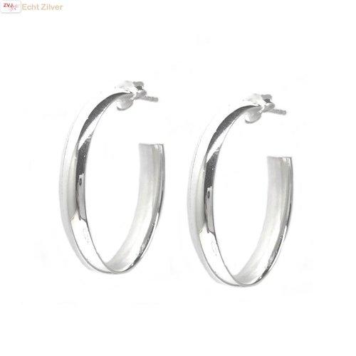 ZilverVoorJou Zilveren ovale steek creolen oorringen