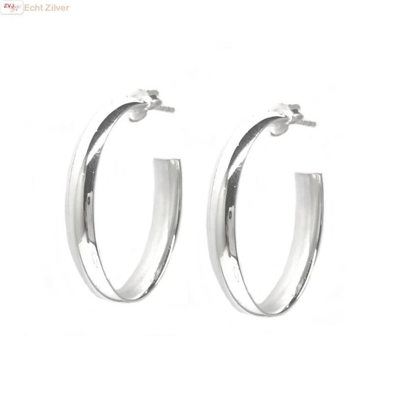 Zilveren ovale steek creolen oorringen-1