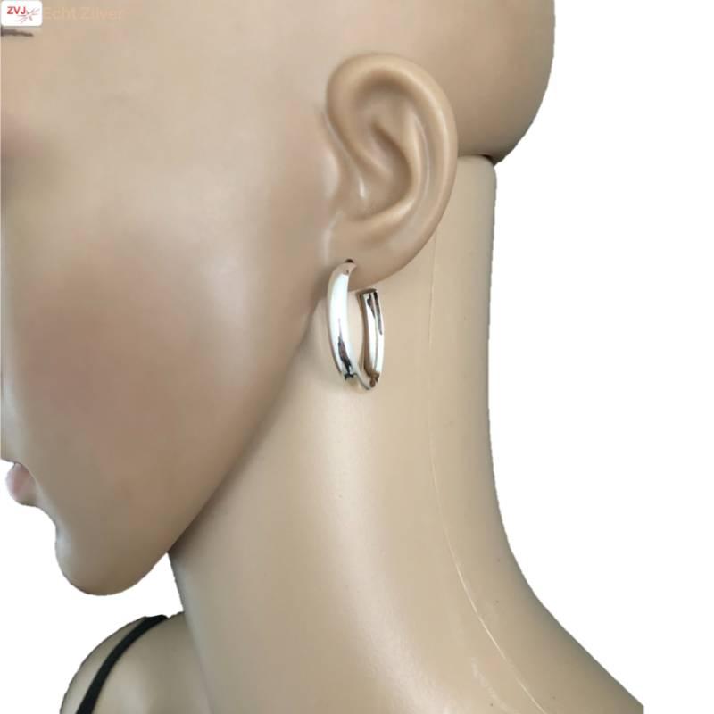 Zilveren ovale steek creolen oorringen-3