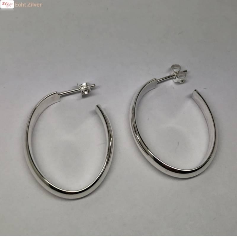 Zilveren ovale steek creolen oorringen-2