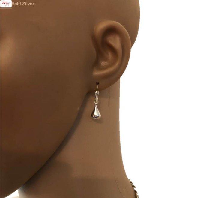 Zilveren creolen oorringen met druppel hanger