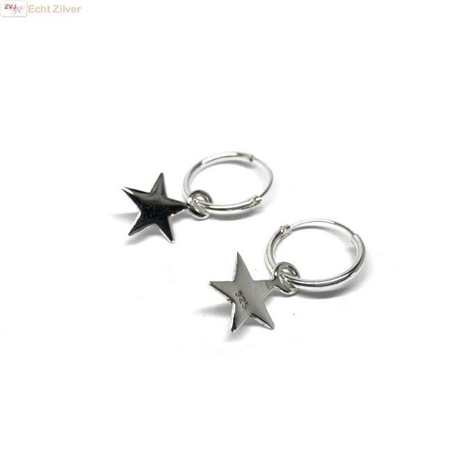 Zilveren creolen oorringen met ster