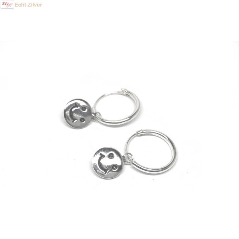 Zilveren creolen oorringen smiley hangertje-3