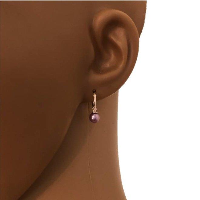 Zilveren creolen oorringen met paars pareltje