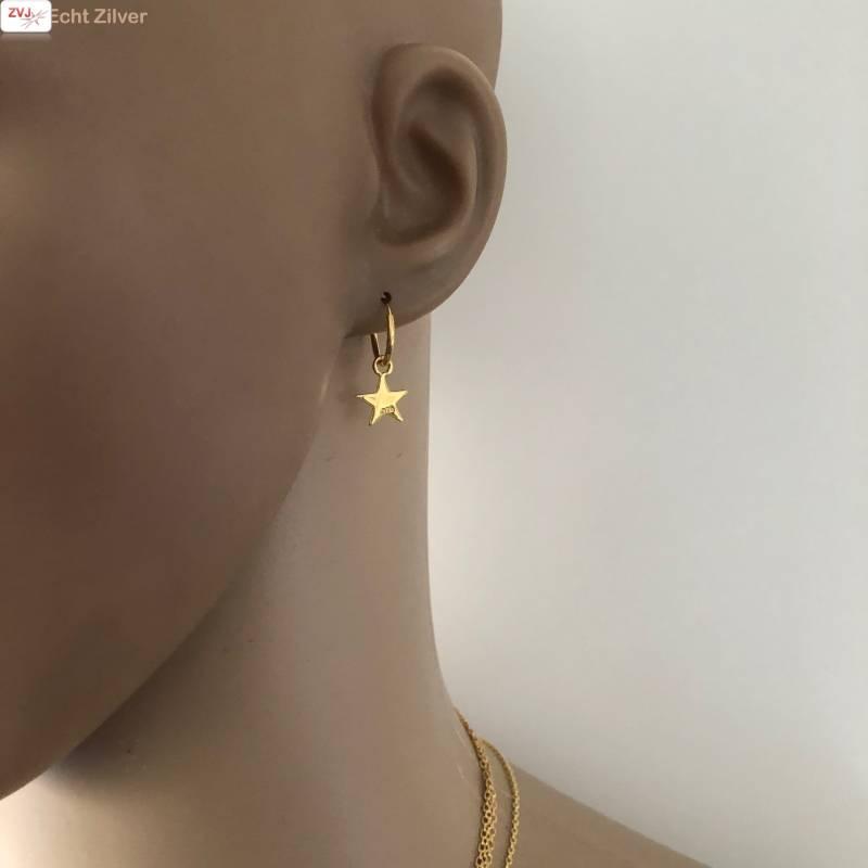 Goud op zilver creolen oorringen met ster-2