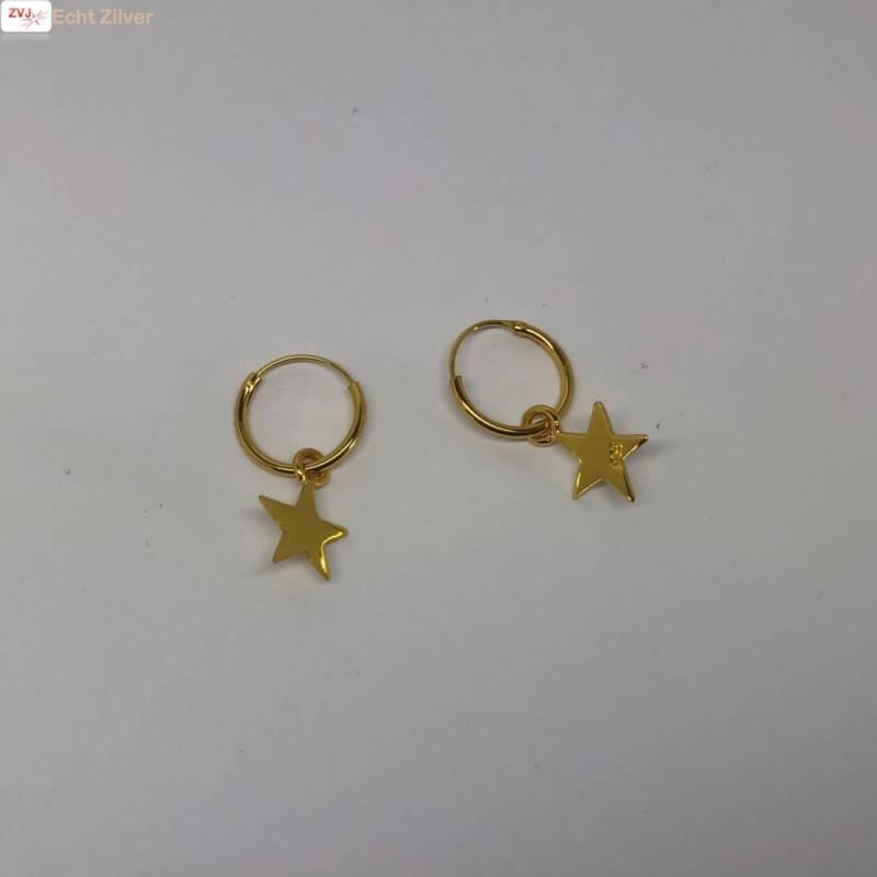 Goud op zilver creolen oorringen met ster-3