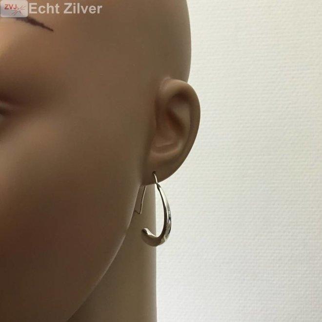 Zilveren trendy grote haak oorbellen