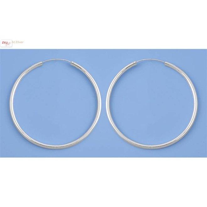 Zilveren creolen oorringen groot 60 mm 3 mm breed
