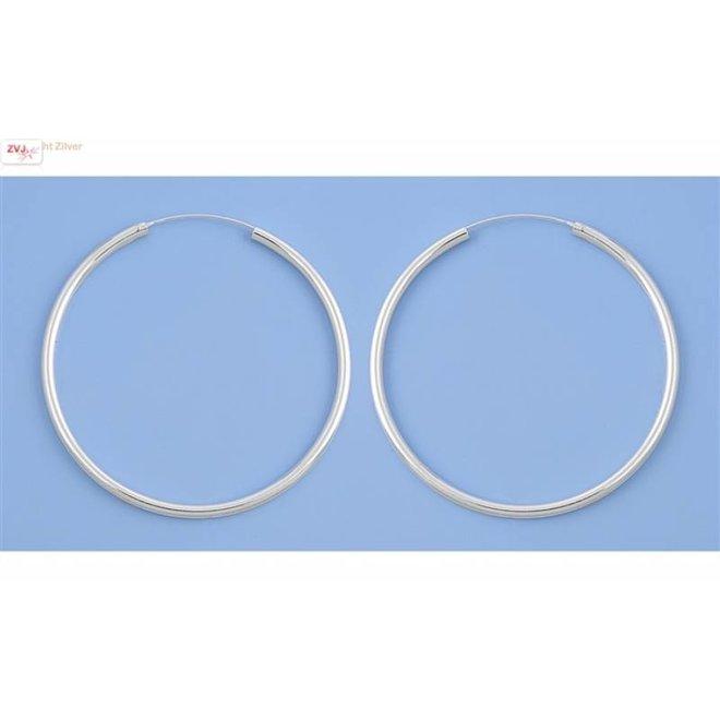 Zilveren creolen oorringen groot 65 mm 3 mm breed