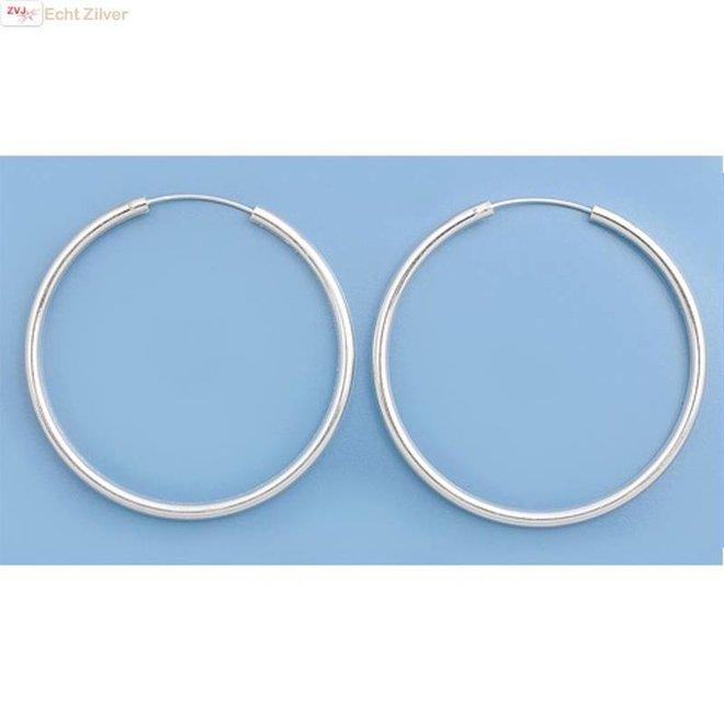 Zilveren creolen oorringen groot 55 mm 3 mm breed