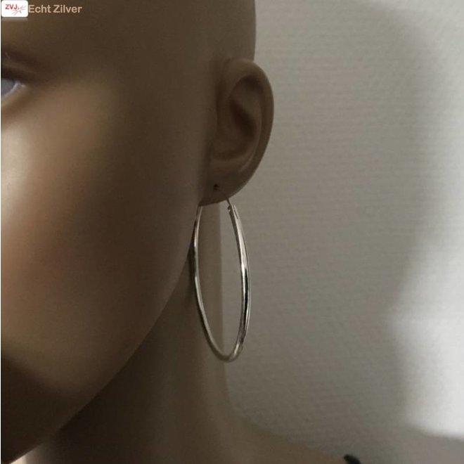 Zilveren creolen oorringen groot 60 mm 2.5 mm breed
