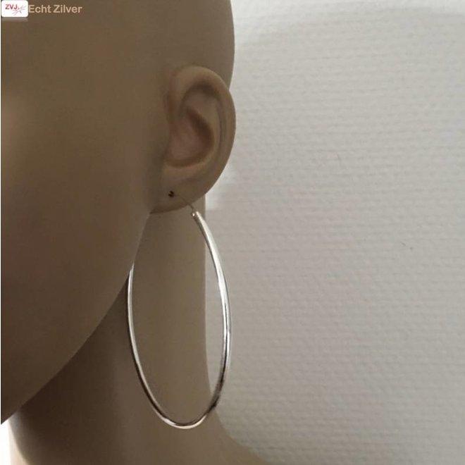 Zilveren creolen oorringen groot  80 mm 2.5 mm breed