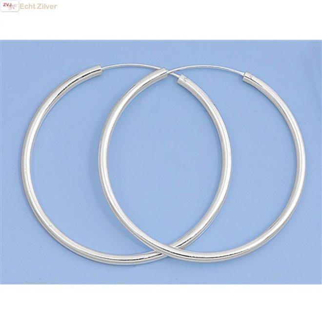 Zilveren creolen oorringen groot 50 mm 2.5 mm breed