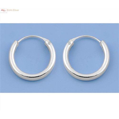 ZilverVoorJou Zilveren kleine creolen oorringen ronde buis 14  x 2 mm breed