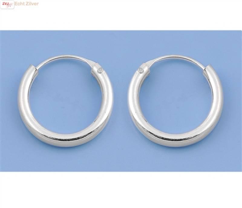 Zilveren kleine creolen oorringen ronde buis 14  x 2 mm breed-4