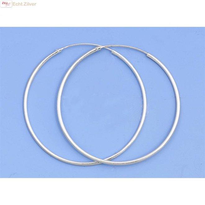 Zilveren creolen oorringen groot 50 mm 1.5 mm breed