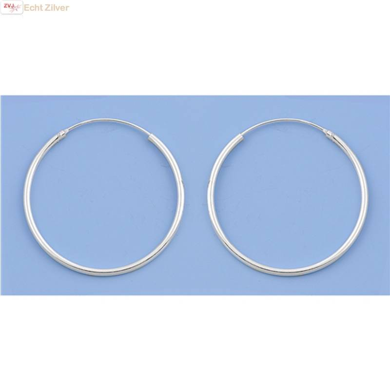 Zilveren creolen oorringen groot 40 mm 1.5 mm breed-3